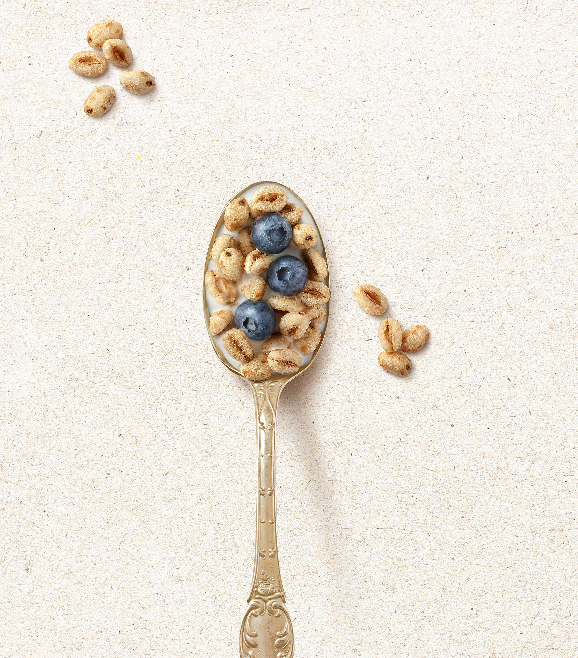 mike wepplo natural photography breakfast quaker oats puff cereal on spoon