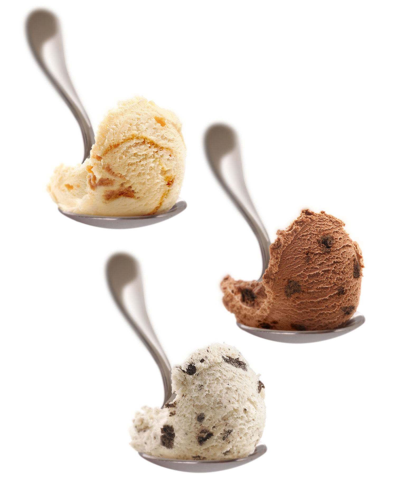 mike wepplo photoreal photography ice cream scoops on spoon