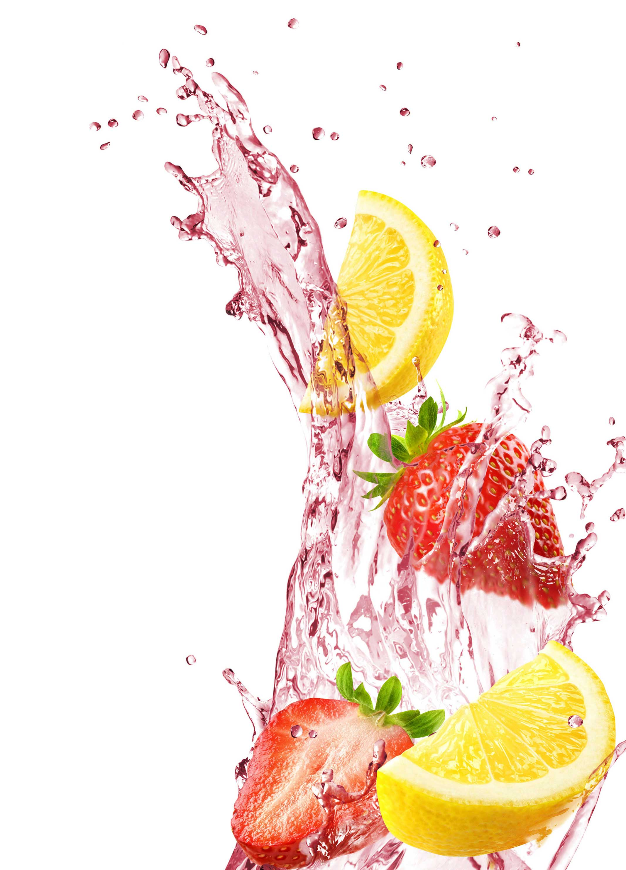 mike wepplo photoreal photography strawberry lemon splash