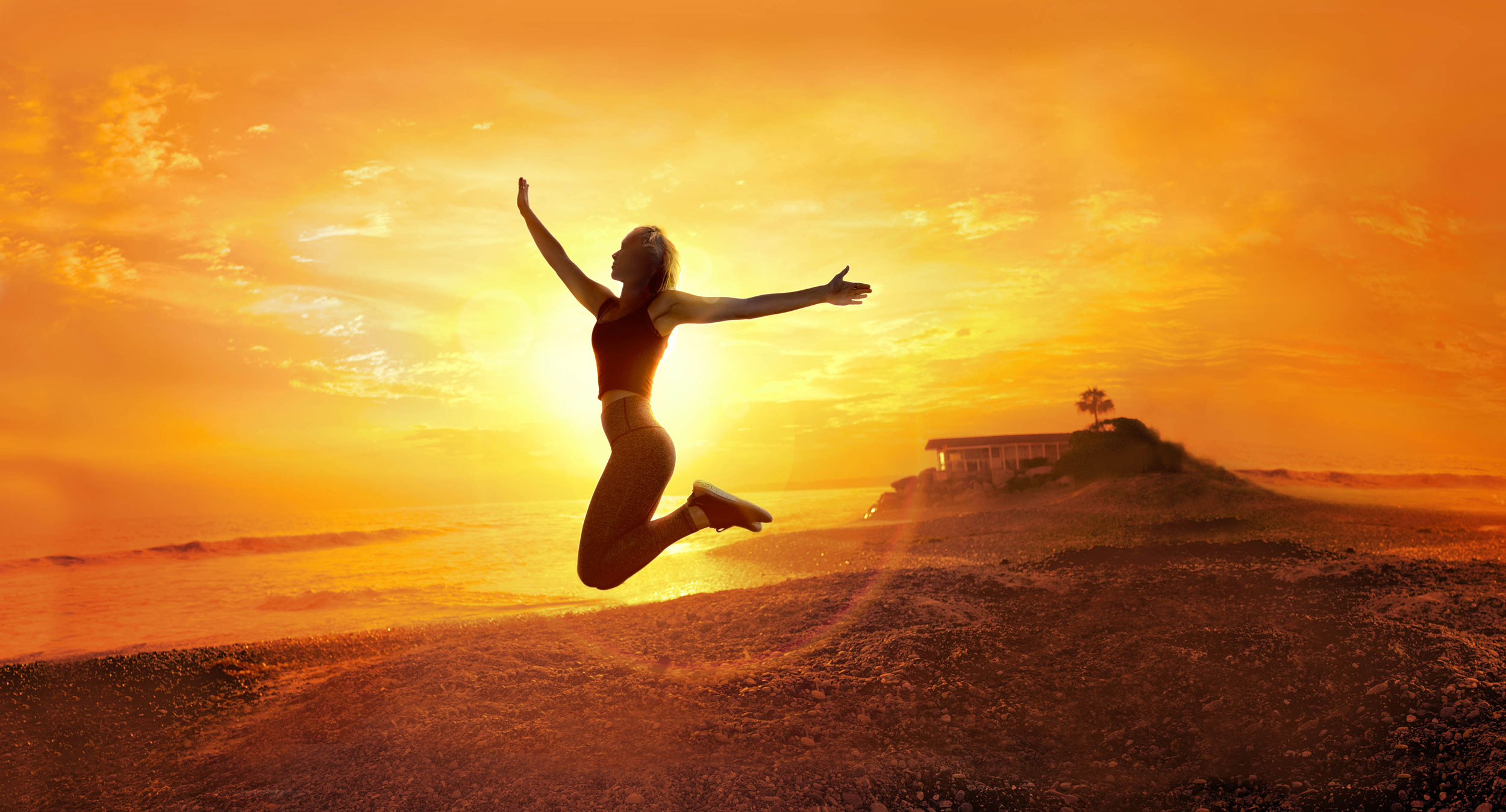 mike wepplo lifestyle photography vitamin bottle girl jumping at sunset